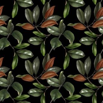 緑のモクレンの葉の手描きの現実的なシームレスパターン