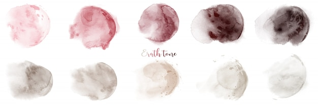Hand painted red-brown earth tone watercolor texture set