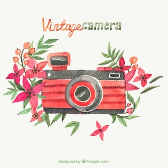Hand painted red retro camera