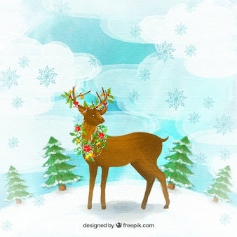 Hand painted reindeer with flowers background