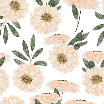 Hand painted repeat pattern with flower and leaf watercolor illustration