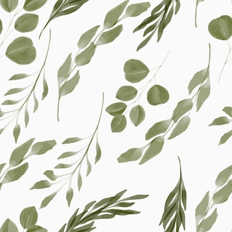 Hand painted repeat pattern with foliage watercolor style