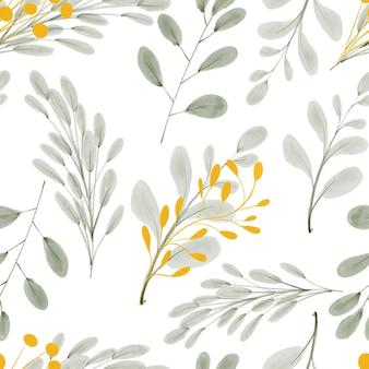Ручная роспись повторяющийся узор с золотыми листьями акварель