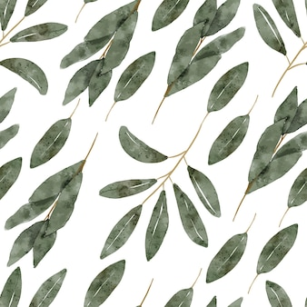 Ручная роспись повторяющийся узор с акварельной иллюстрацией зелени