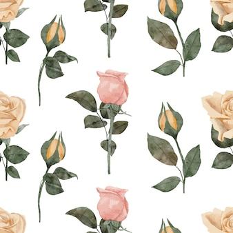 パステルカラーの手描きのバラのつぼみの水彩画の繰り返しパターン Premiumベクター