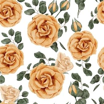 黄色の手描きのバラの花の水彩画の繰り返しパターン