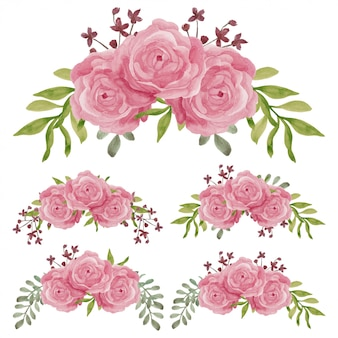 손으로 그린 장미 꽃 곡선 배열