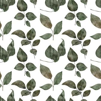 手描きのバラの葉の水彩パターン