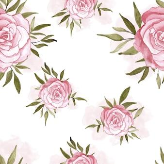 원활한 패턴을 위한 손으로 그린 장미 수채화