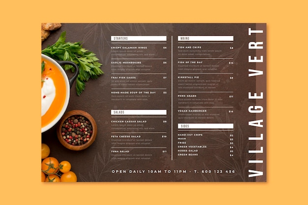 Hand painted rustic restaurant menu with photo