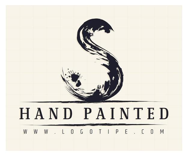 Шаблон логотипа s с ручной росписью