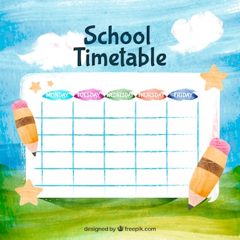 Hand painted school timetable