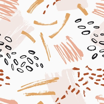 Hand painted seamless pattern with rough motley brush strokes, stains, scribble, spatter on white background. backdrop with abstract paint marks. modern vector illustration in contemporary art style.