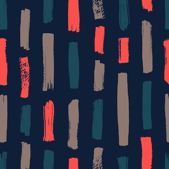 Hand painted seamless pattern with vibrant vertical paint traces on black background. abstract backdrop with rough brush strokes, marks, stains. vector illustration for wrapping paper, wallpaper.