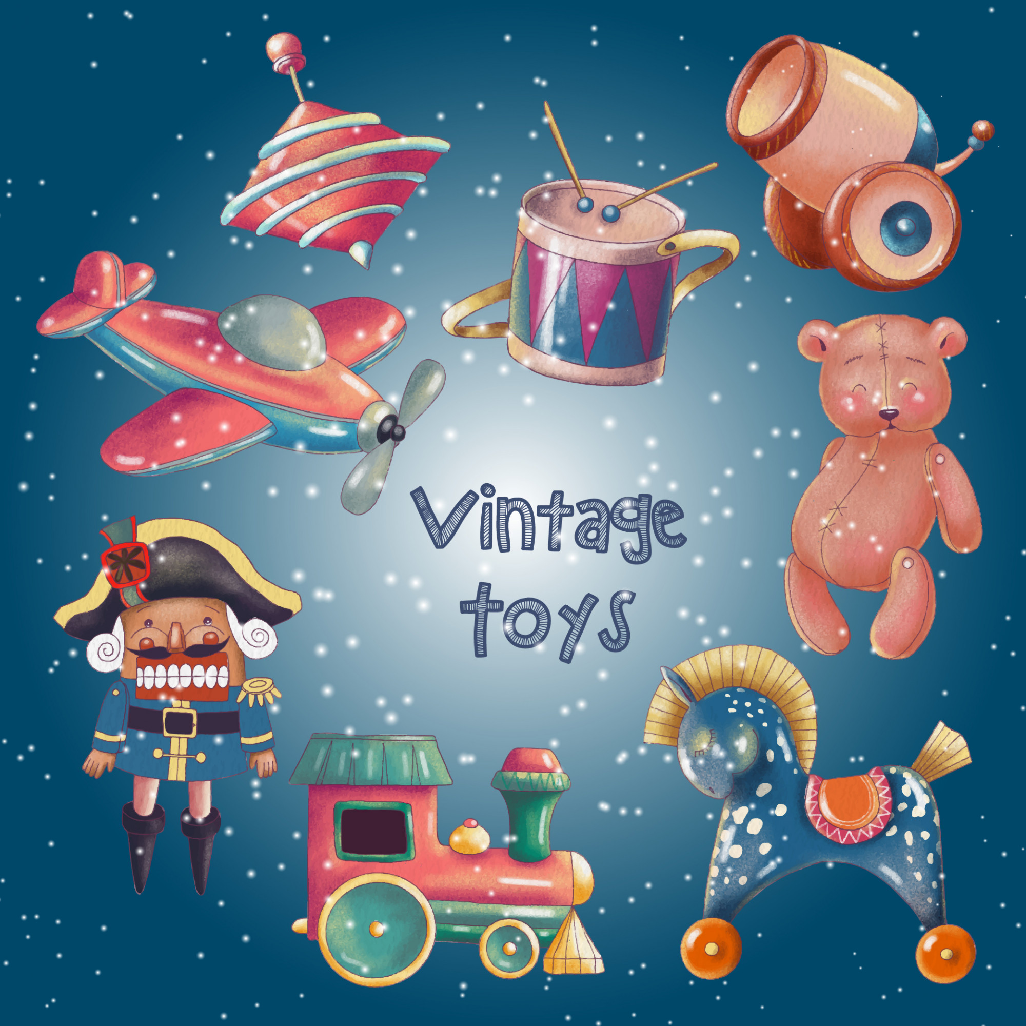 Hand painted set of cute retro toys