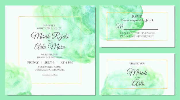 Hand painted of simple elegant turquoise stain watercolor as wedding invitation template