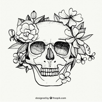 Hand painted skull and flowers