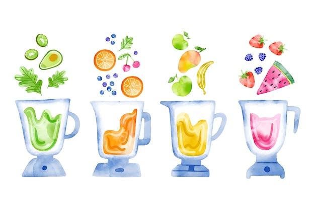 ブレンダーガラスの手描きのスムージー