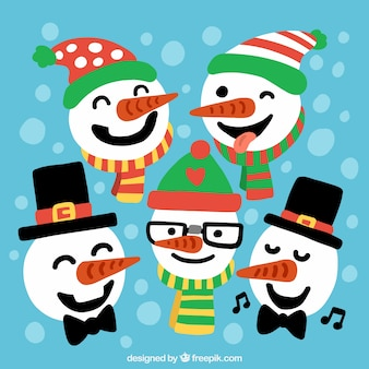 Hand painted snowmen characters