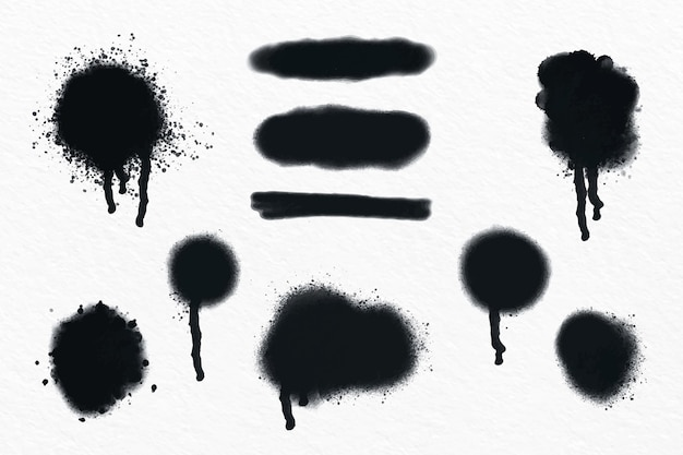 Collezione di linee spray e gocce dipinte a mano