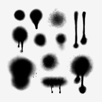Set di linee spray e gocciolamenti dipinti a mano