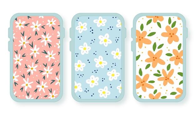 Hand painted spring floral mobile device wallpaper set design