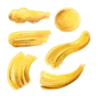 금색과 반짝이로 손으로 그린 얼룩