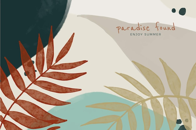 Hand painted style abstract leaves background design