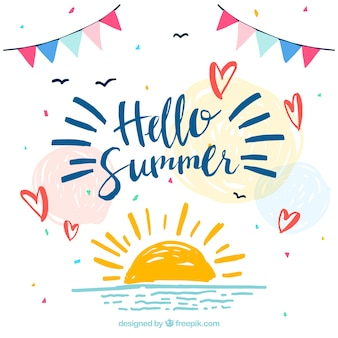 Hand painted summer background