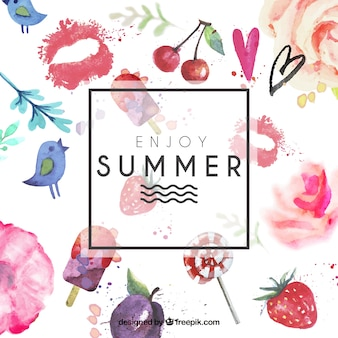 Hand painted summer card Free Vector