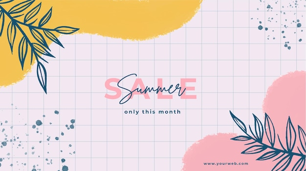 Hand painted summer sale background with painted stains and leaves