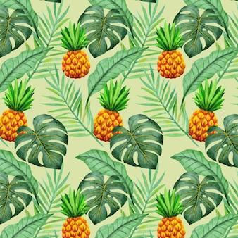 손으로 그린 여름 열대 패턴