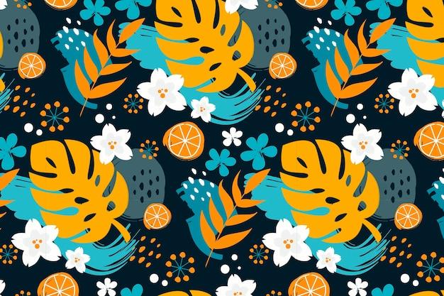 Modello tropicale estivo dipinto a mano