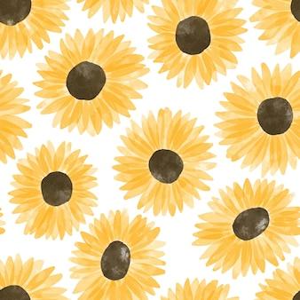 手描きの太陽の花の花の水彩画の繰り返しパターン