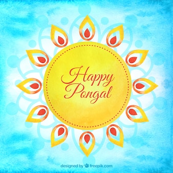 Hand painted sun of happy pongal background
