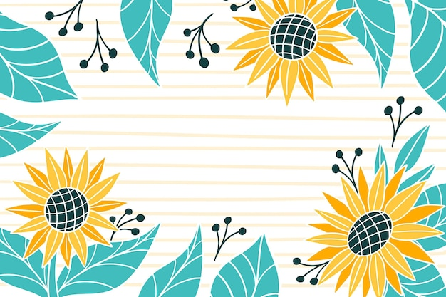 Hand painted sunflower background