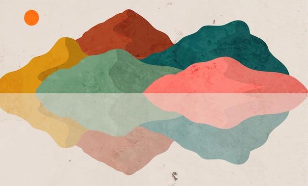 Ручная роспись закат фон с абстрактным минималистичным стилем