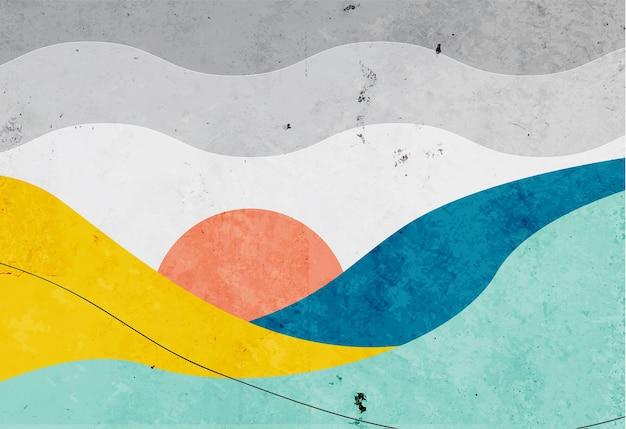 Ручная роспись закат фон с абстрактным минималистичным