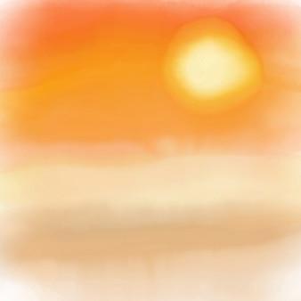 塗装水彩効果と日没の背景