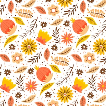 손으로 그린 열대 꽃 패턴