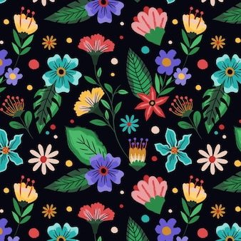Hand painted tropical floral pattern