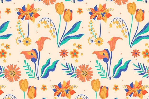 Hand painted tropical leaves and flowers pattern