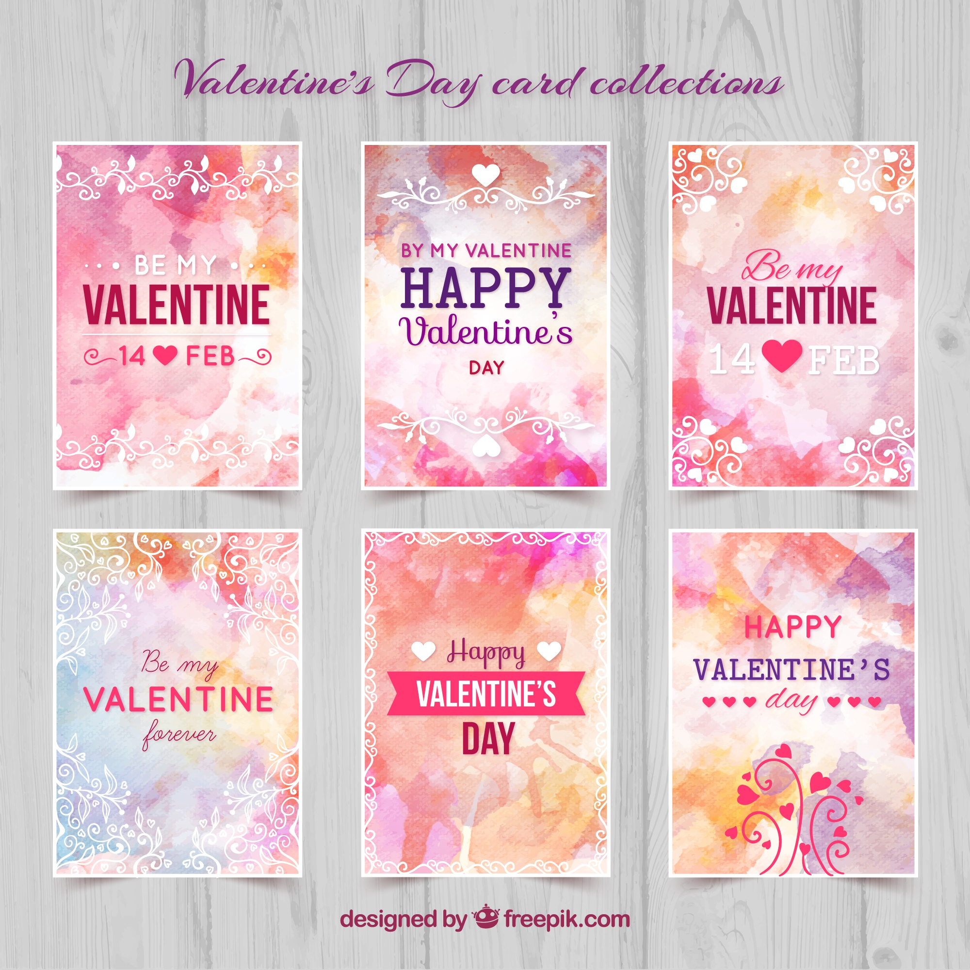 Hand painted valentine day cards