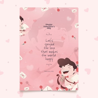 Hand painted valentine's day party flyer template