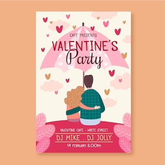 Hand painted valentines day party poster template