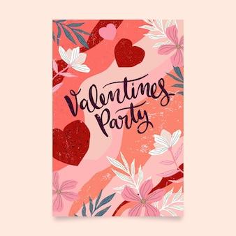 Modello di poster festa di san valentino dipinto a mano