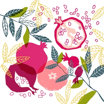 Hand painted vector floral poster with pomegranate