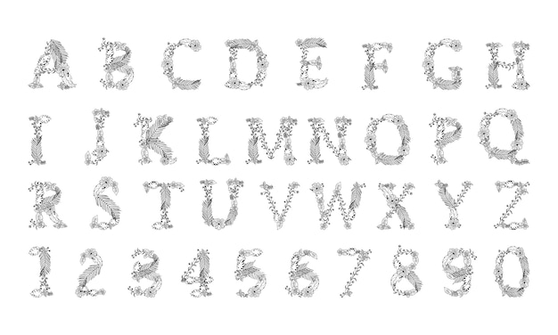 手描きの白い背景の上のベクトル花手紙abc