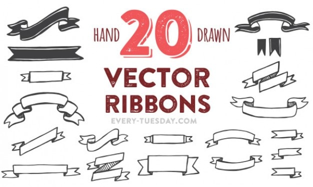 Hand painted vector ribbons pack