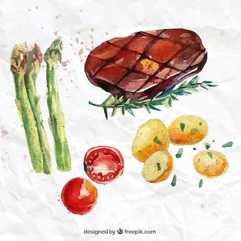 손으로 그린 야채와 스테이크